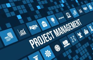 44464269 - project management concept image with business icons and copyspace.
